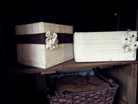 fabric-wrapped cardboard boxes that keep baby trinkets