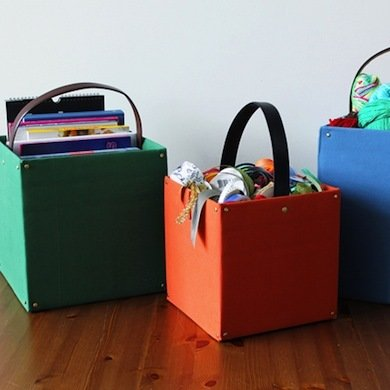 reused cardboard boxes with handles for storage and declutter