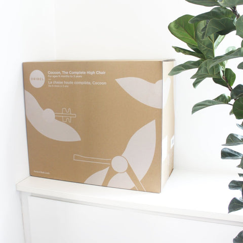 Oribel Cocoon packaging box on a white cupboard