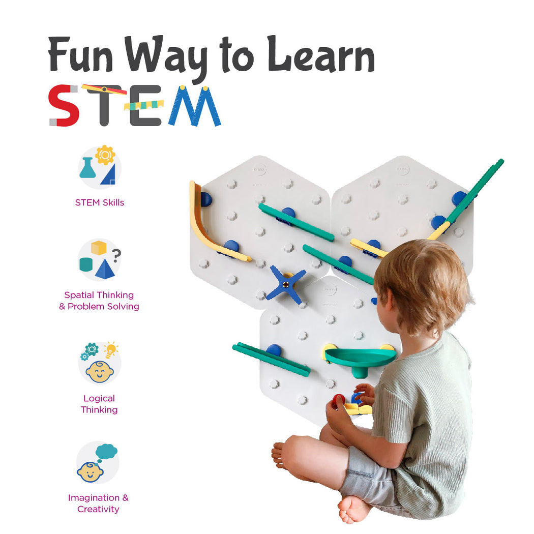 VertiPlay STEM Marble Run | Crayon Edition Ultra Fun Play Wall | 6 Mat Bases