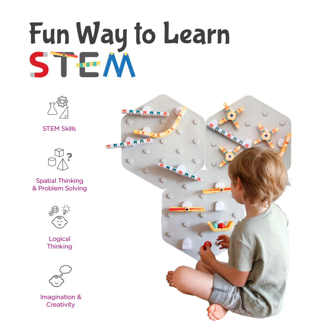 VertiPlay STEM Marble Run | Ultra Fun Play Wall | 6 Mat Bases