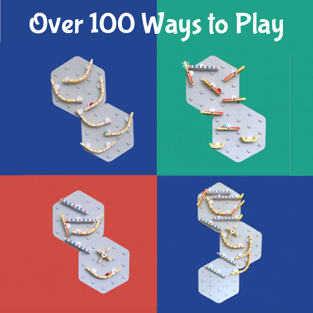 VertiPlay STEM Marble Run - Triple Fun Set of 3 - Over 100 ways to Play