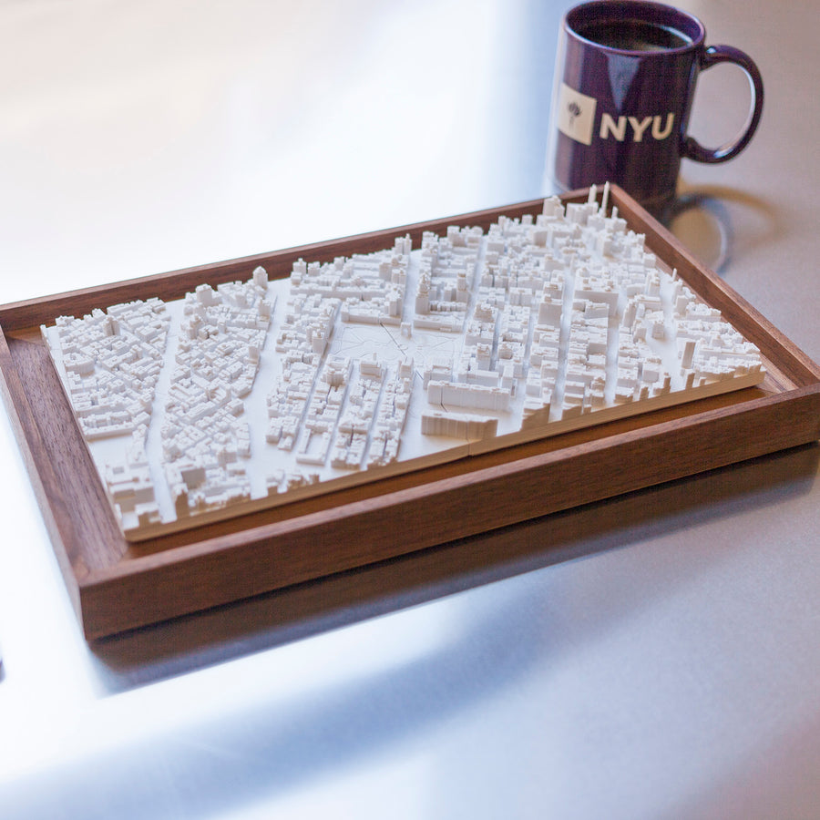 Framed, 3D-printed aerial scan of Washington Square Park and surrounding NYU campus buildings