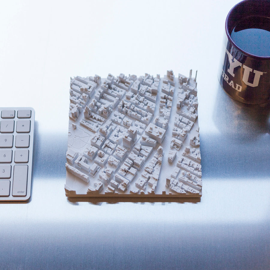 3D-Printed aerial scan of the eastern portion of Washington Square Park and the NYU campus area