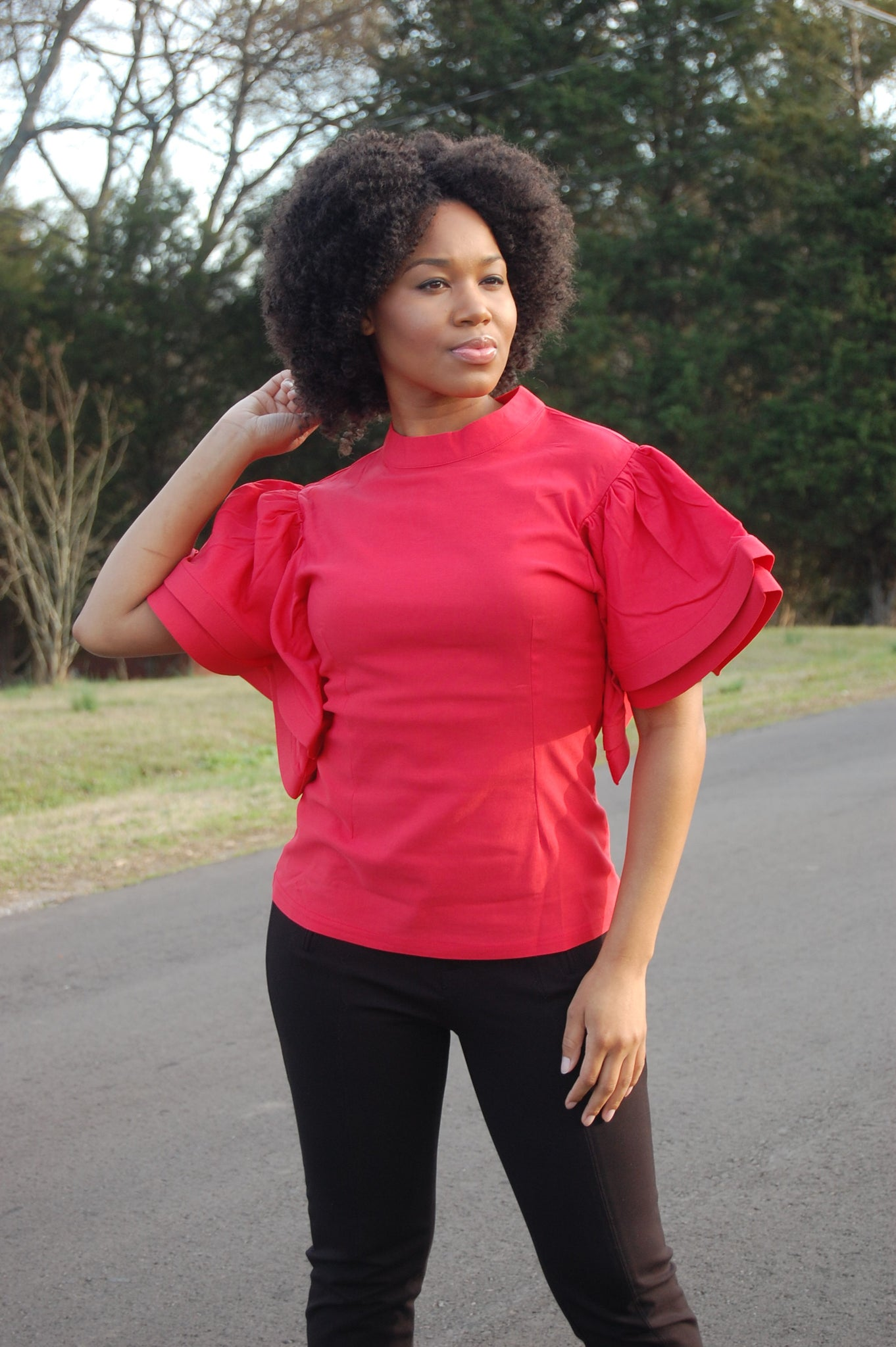 Coral Puffer Sleeve Blouse