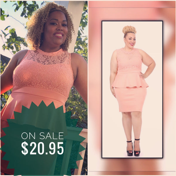Peach Peplum Dress