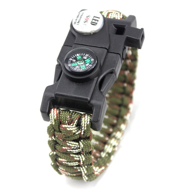 Survival | Survivor Paracord Bracelet With LED SOS Flashing Emergency Light And Compass