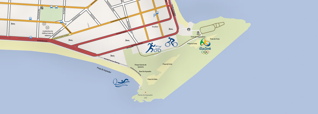 High Res Vector Map of the Copacabana Olympic Area