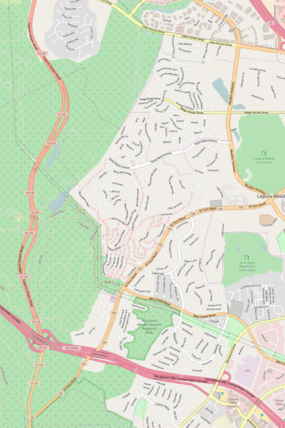 Detailed Editable Vector Map of  Aliso Viejo
