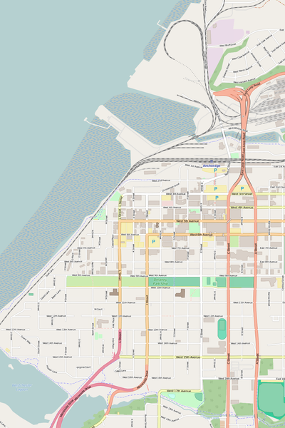 Detailed Editable Vector Map of  Anchorage