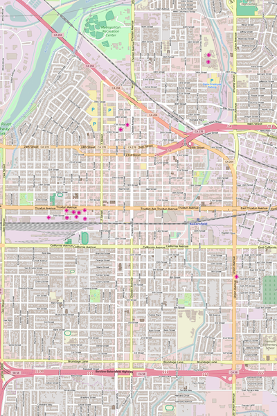 Detailed Editable Vector Map of  Bakersfield
