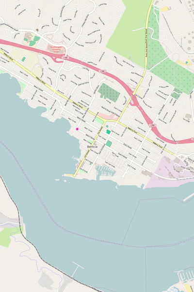 Detailed Editable Vector Map of  Benicia