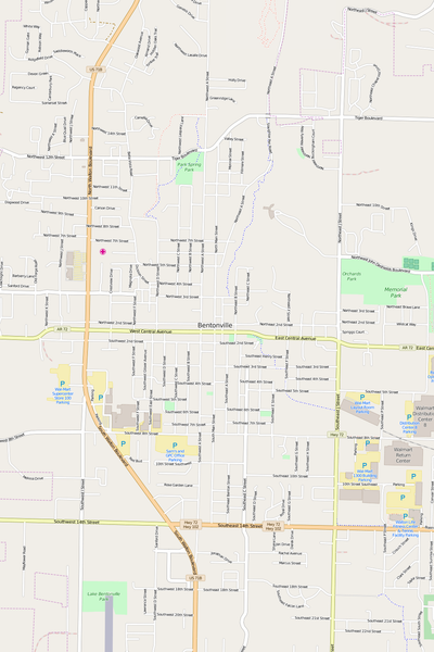 Detailed Editable Vector Map of  Bentonville