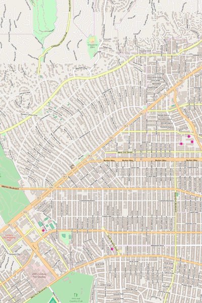 Detailed Editable Vector Map of  Beverly Hills