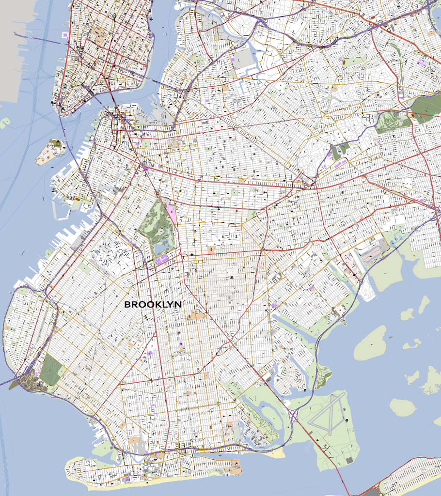 Detailed Map Of New York City.Detailed Vector Map Of Brooklyn New York City