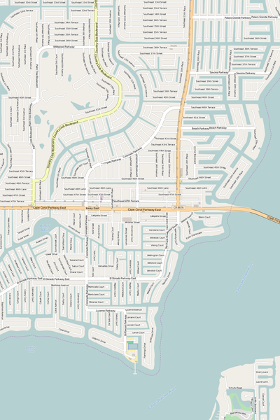Detailed Editable Vector Map of  Cape Coral