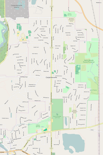 Detailed Editable Vector Map of  Carpentersville
