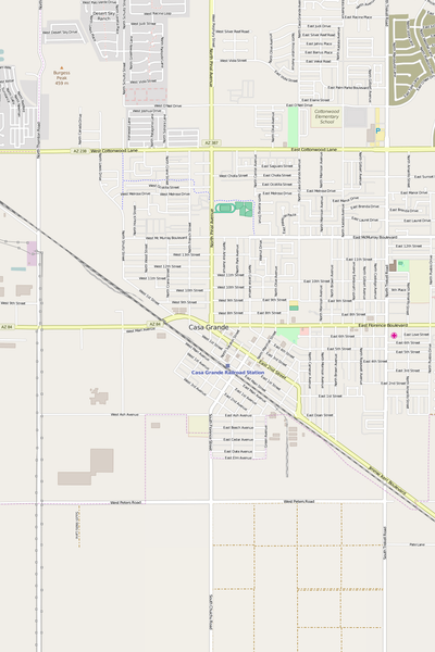 Detailed Editable Vector Map of  Casa Grande