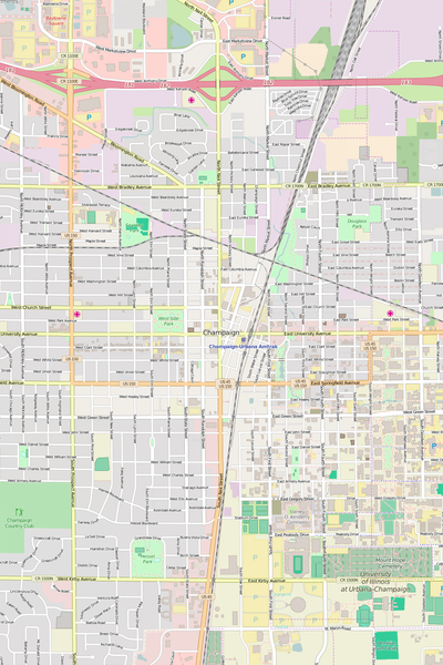 Detailed Editable Vector Map of  Champaign