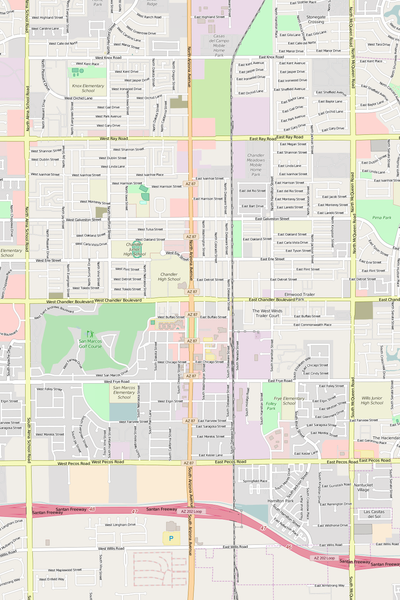 Detailed Editable Vector Map of  Chandler