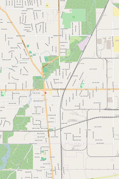 Detailed Editable Vector Map of  Chicago Heights