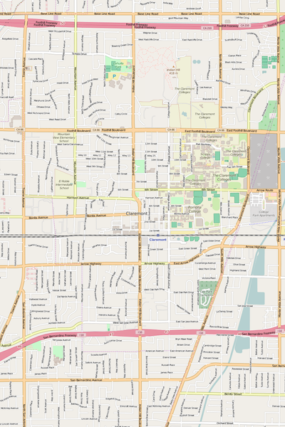 Detailed Editable Vector Map of  Claremont