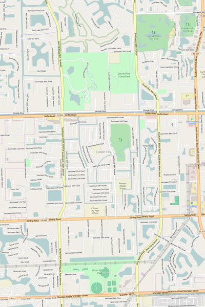 Detailed Editable Vector Map of  Cooper City