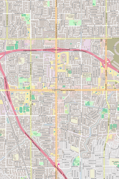 Detailed Editable Vector Map of  Cupertino