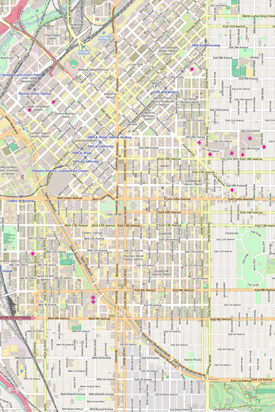 Detailed Editable Vector Map of  Denver