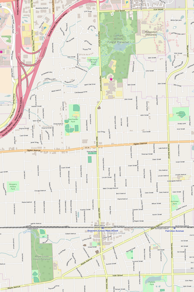 Detailed Editable Vector Map of  Downers Grove