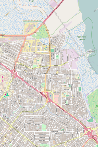 Detailed Editable Vector Map of  East Palo Alto