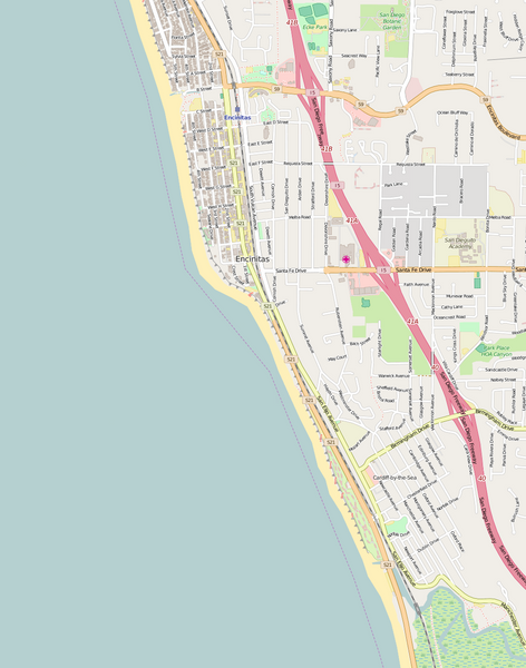 Detailed Editable Vector Map of  Encinitas