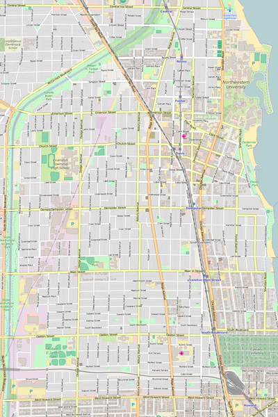Detailed Editable Vector Map of  Evanston