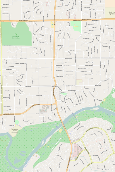 Detailed Editable Vector Map of  Fair Oaks