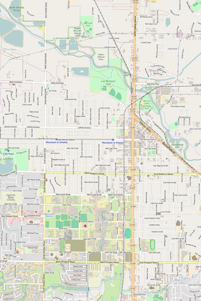 Detailed Editable Vector Map of  Fort Collins