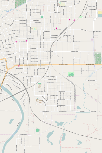 Detailed Editable Vector Map of  Fort Dodge