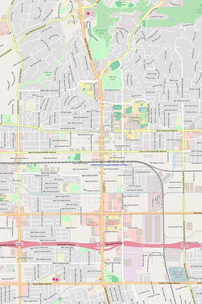 Detailed Editable Vector Map of  Fullerton