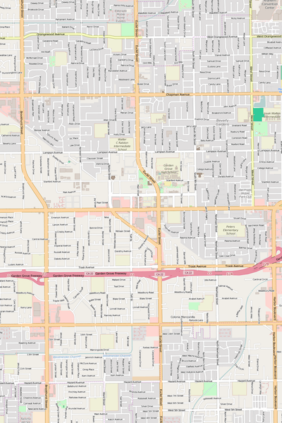 Detailed Editable Vector Map of  Garden Grove