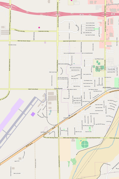 Detailed Editable Vector Map of  Goodyear