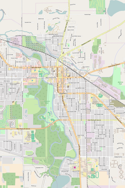 Detailed Editable Vector Map of  Goshen