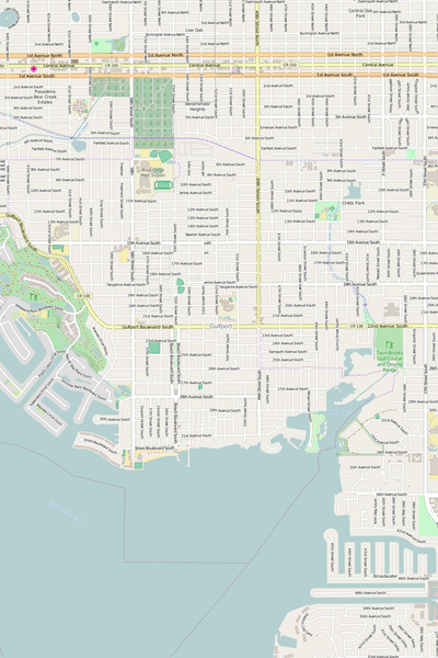 Detailed Editable Vector Map of  Gulfport