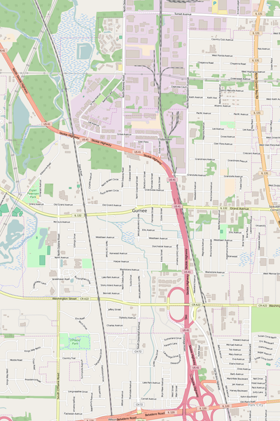 Detailed Editable Vector Map of  Gurnee