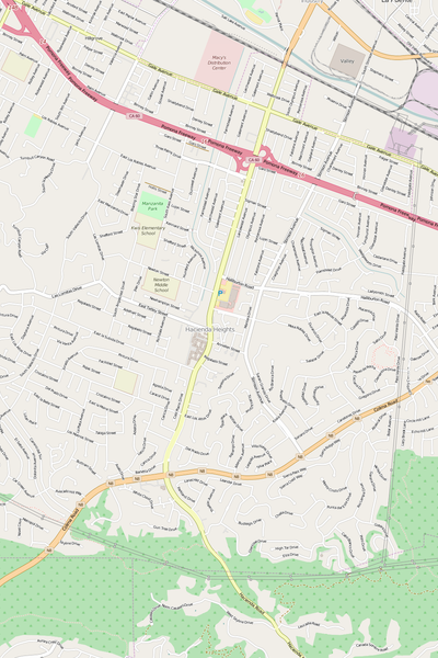 Detailed Editable Vector Map of  Hacienda Heights