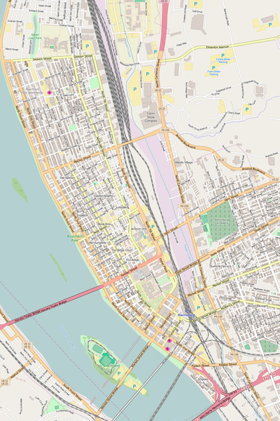 Detailed Editable Vector Map of  Harrisburg