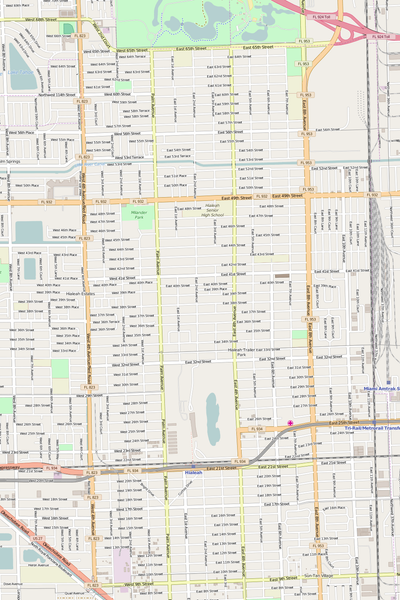 Detailed Editable Vector Map of  Hialeah