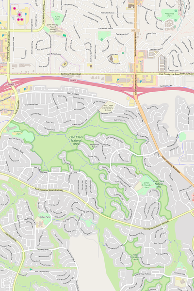 Detailed Editable Vector Map of  Highlands Ranch