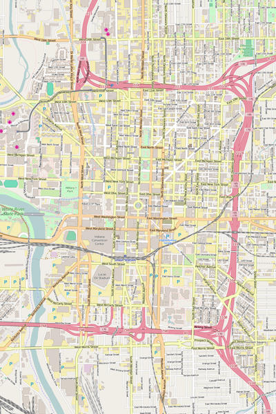 Detailed Editable Vector Map of  Indianapolis