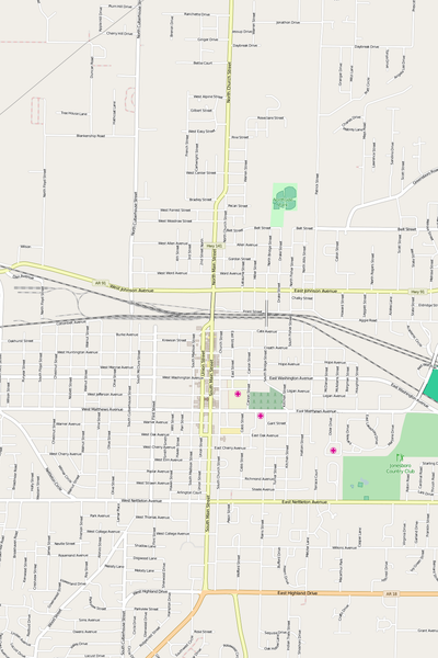 Detailed Editable Vector Map of  Jonesboro