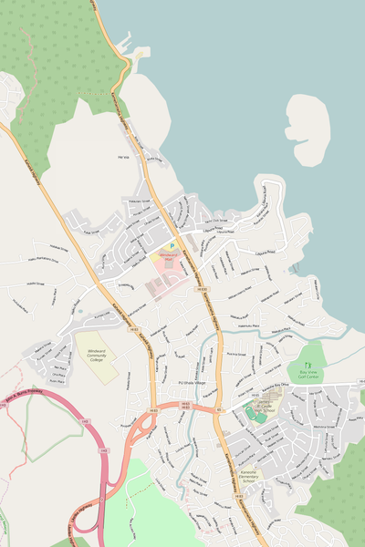 Detailed Editable Vector Map of  Kaneohe