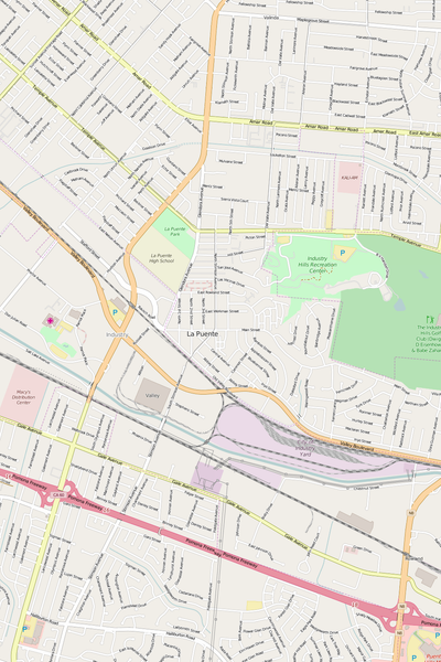 Detailed Editable Vector Map of  La Puente
